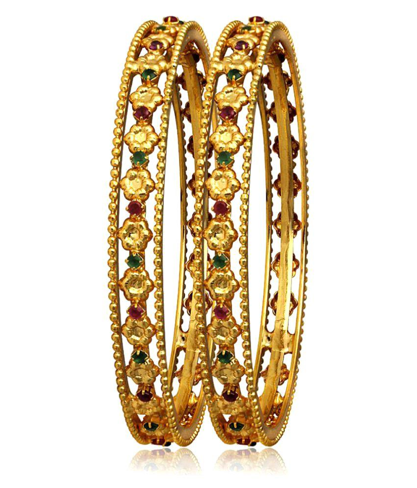 Spargz Gold Plated Indian Traditional Bangles Multicolor American Diamond Wedding Party Pair Of Bangles