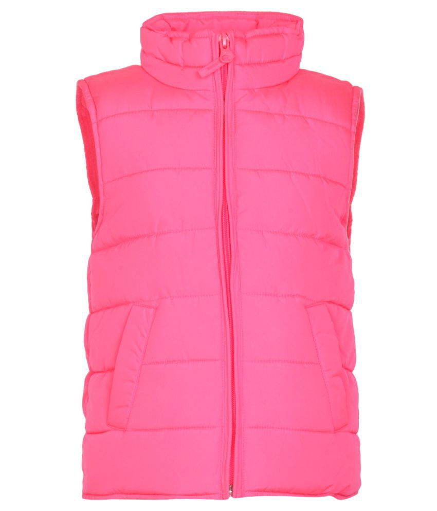 The Childrens Place Girls Pink Solid Puffer Vest