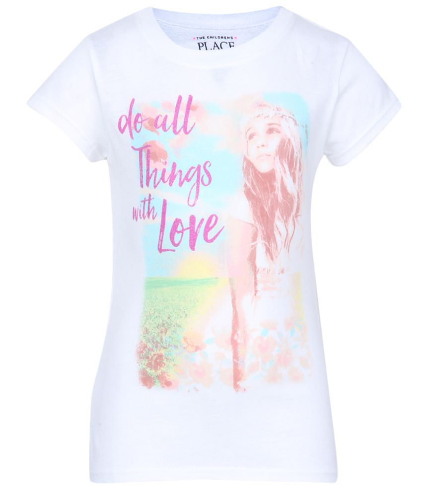 5869ffd0a The Childrens Place Girls White Short Sleeve Glitter Photo-Real 'Do All  Things With Love' Beach Girl Graphic Tee - Buy The Childrens Place Girls  White Short ...