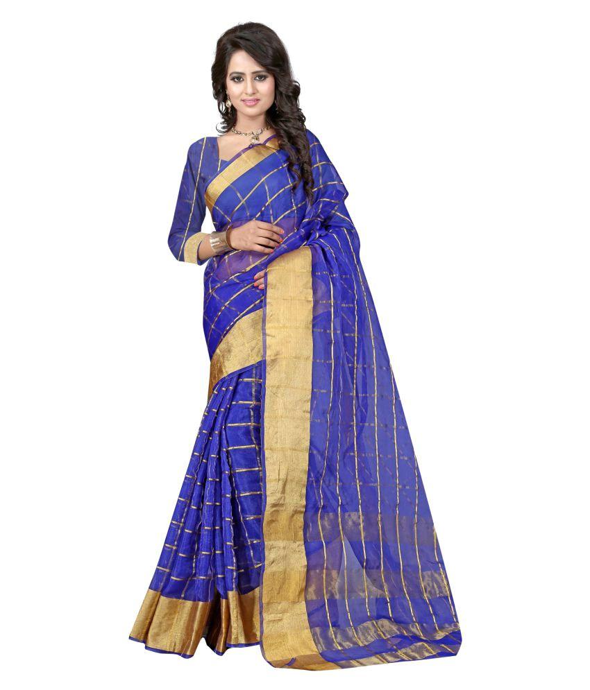Pioneer Textiles Blue Cotton Saree