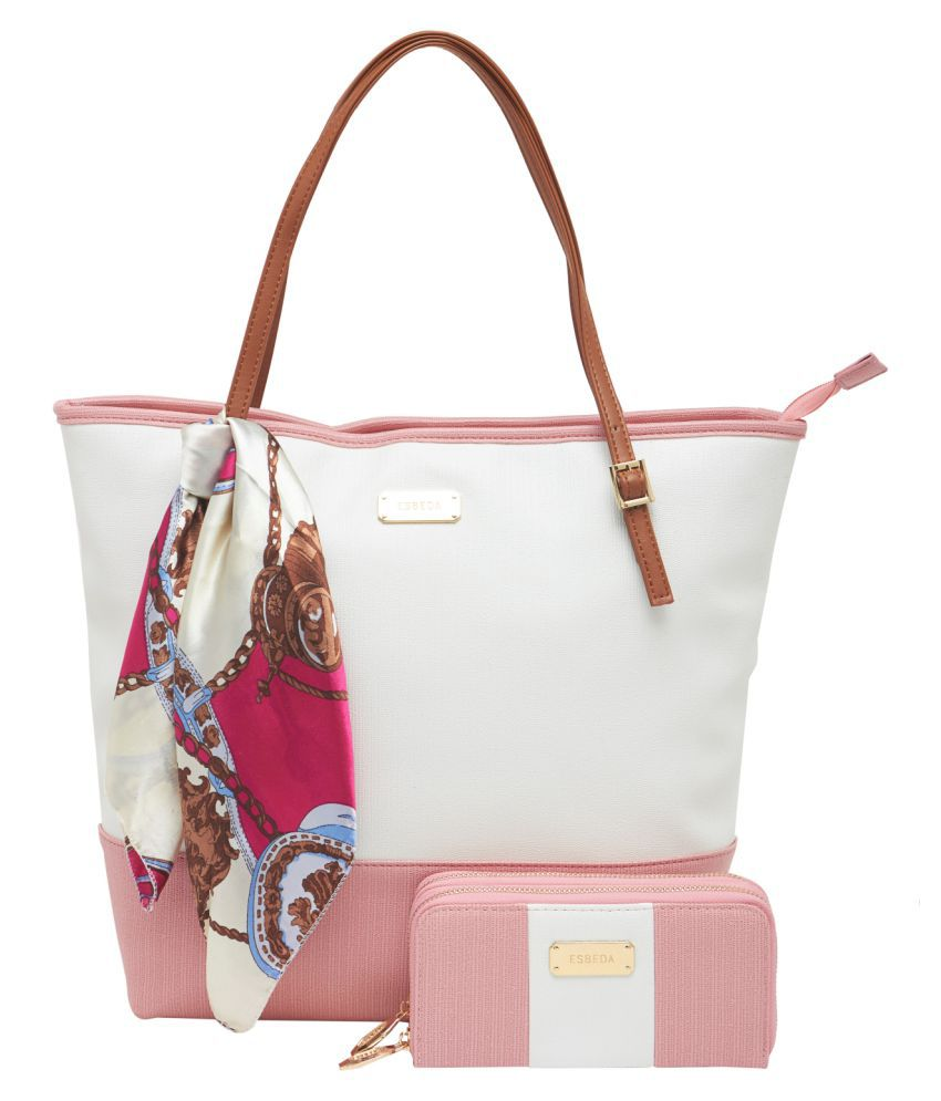 Esbeda Light Pink Faux Leather Combo