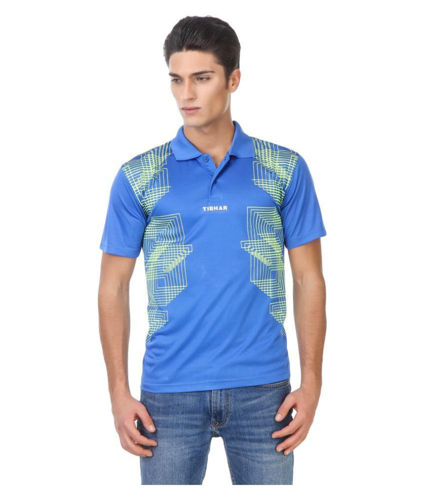 Tibhar Blue Polyester Polo T-Shirt