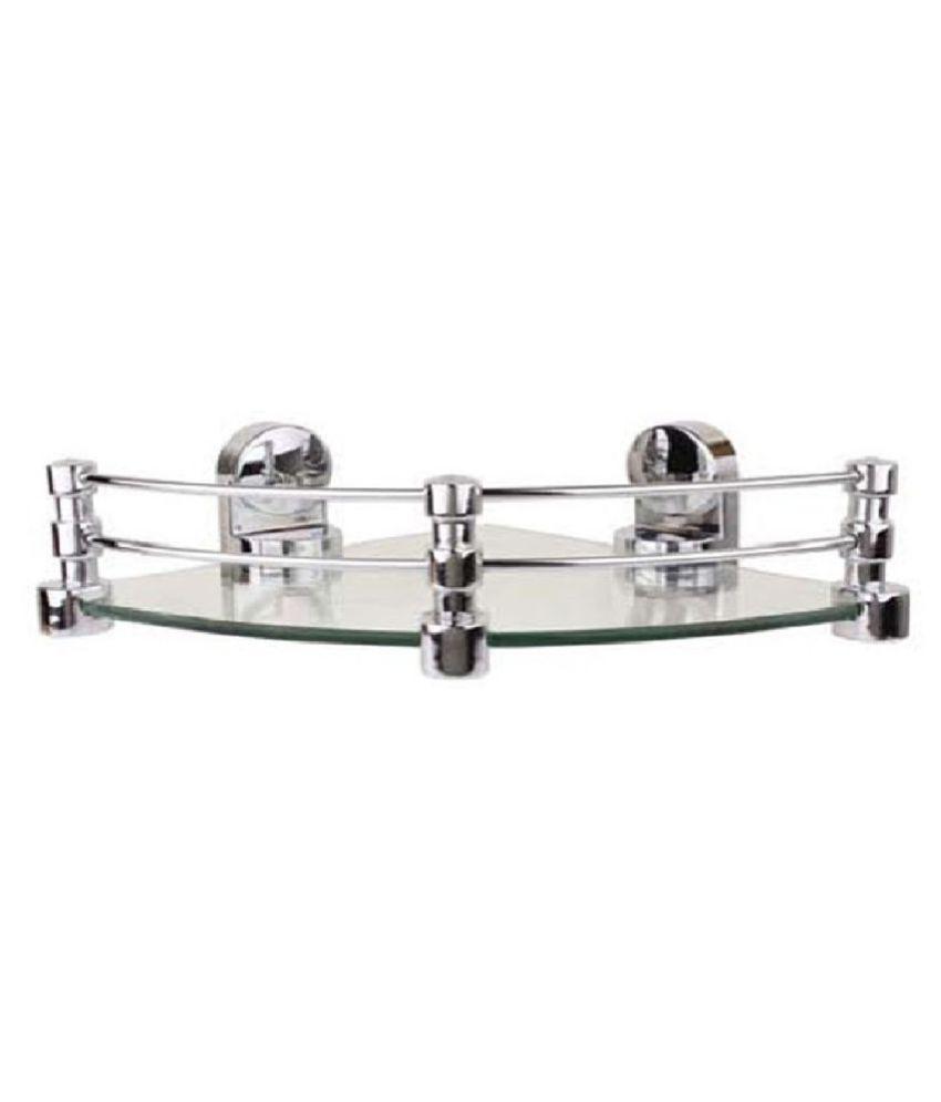 Royal Indian Craft Queen Bracket Elegant Look 12 by 12 inch Glass Corner Shelf