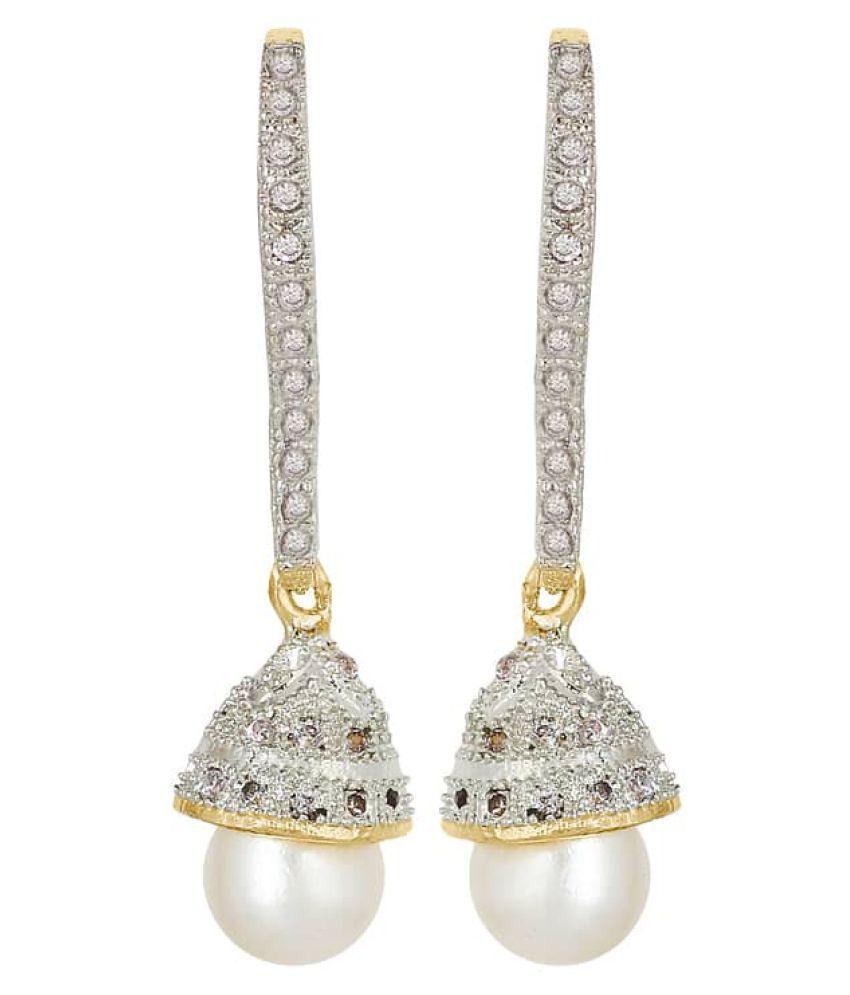 Zevar Green American Diamond Earrings