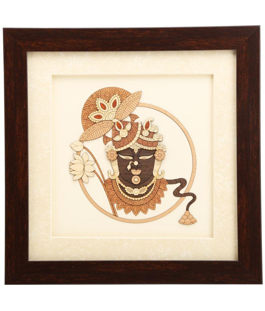shivika enterprises Natural Wood 2d & 3d View Shrinathji Painting (25x25x2 cm, Brown)