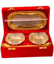 Adidev Silver And Gold Plated Brass Bowl And Tray Set Of 5 Pcs