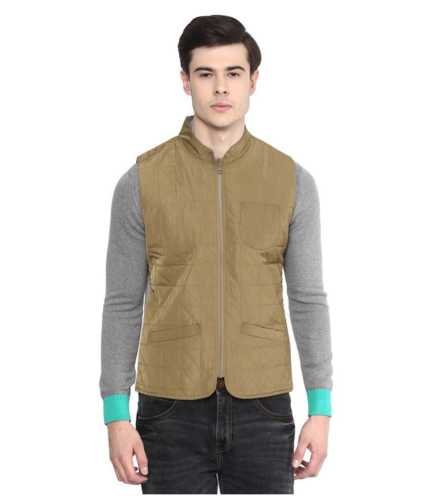 United Colors of Benetton Green Solid Casual Waistcoats