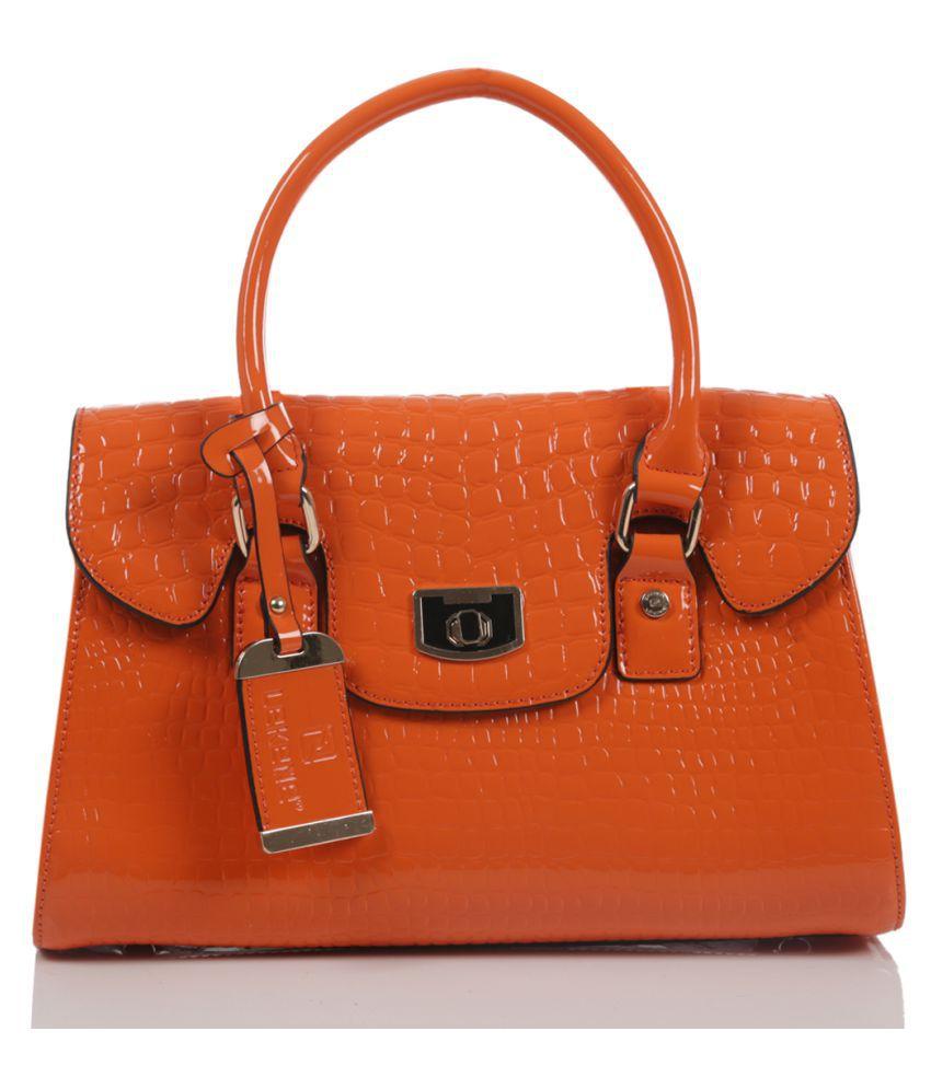 Smerize Orange Faux Leather Handheld