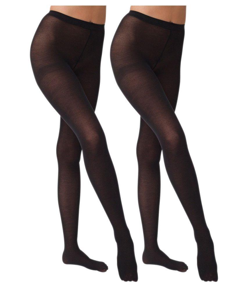 Gold Dust Long Comfort Black Hose Stocking - Set of 2