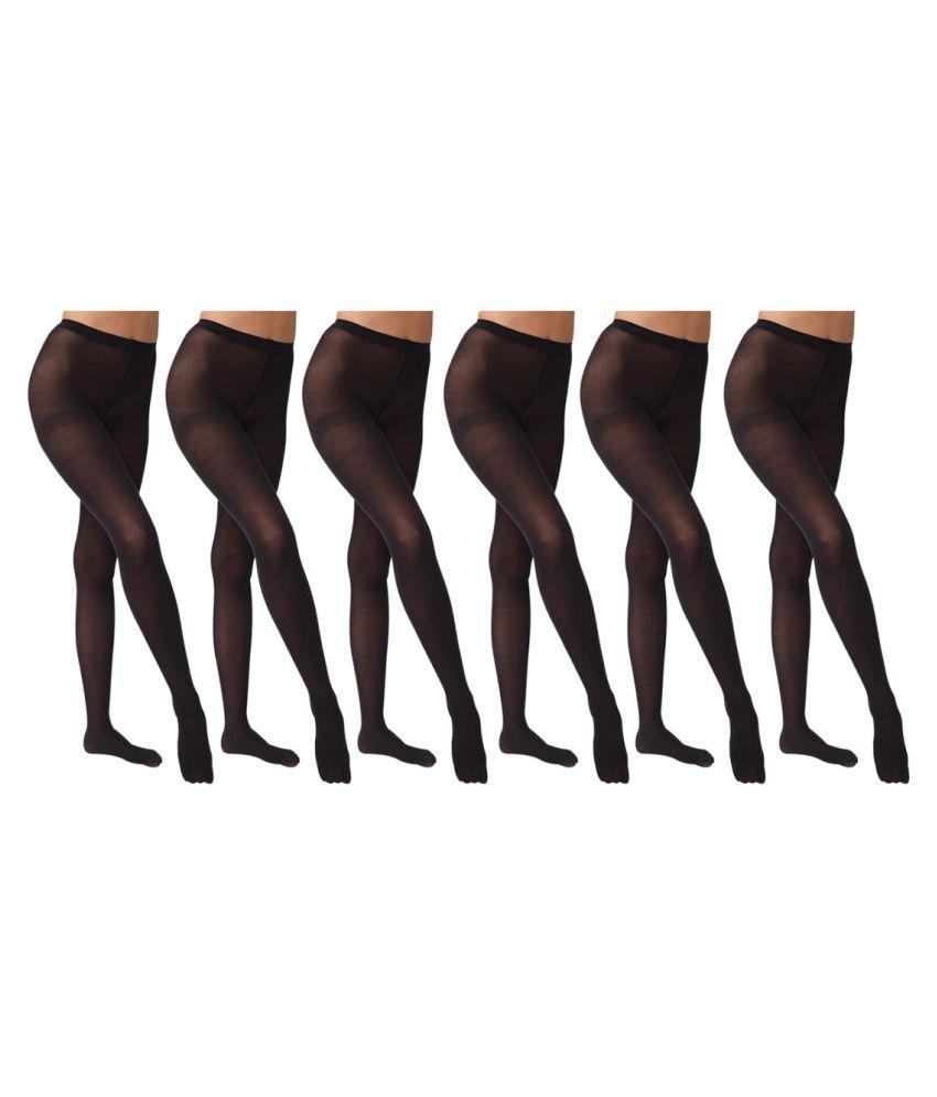 Gold Dust Long Comfort Black Hose Stocking - Set of 6