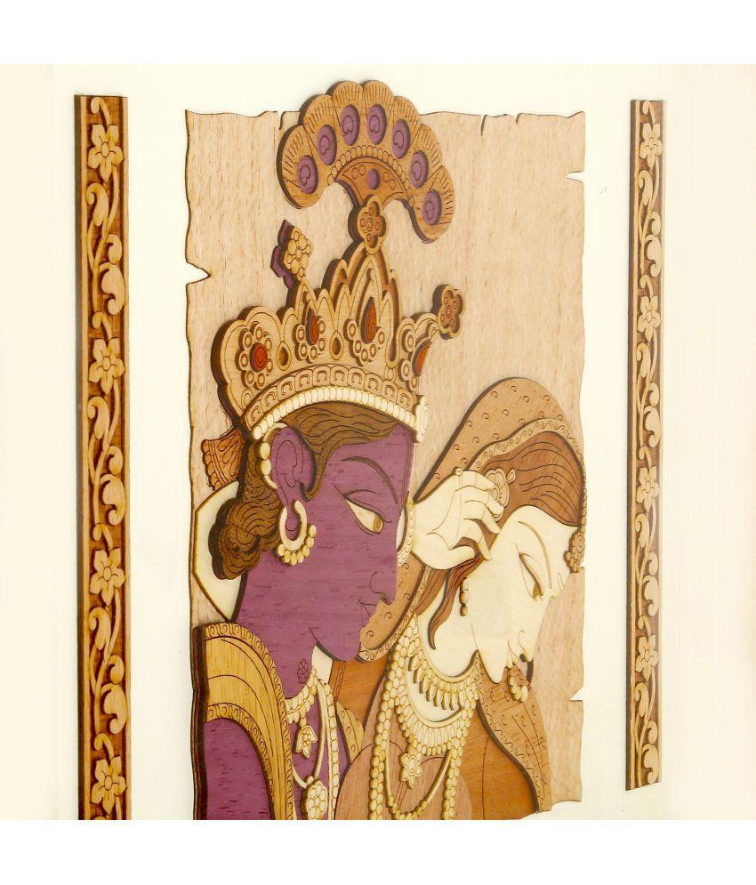 Shivika Enterprises Natural Wood 2d & 3d View Radha Krishna Painting ...