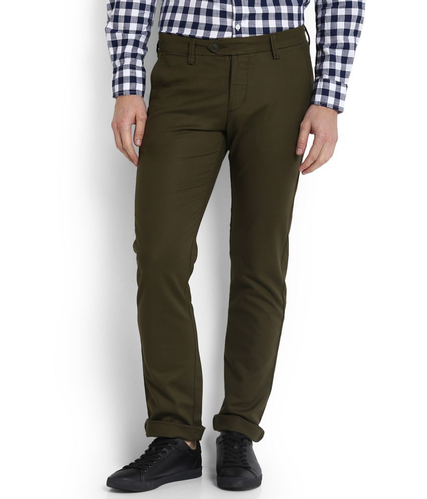 Allen Solly Green Slim Flat Trousers