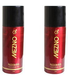Mezno Passion Red Sizzling And Long Lasting Fragrance Deodorant Body Spray For Men 150ml- Set Of 2