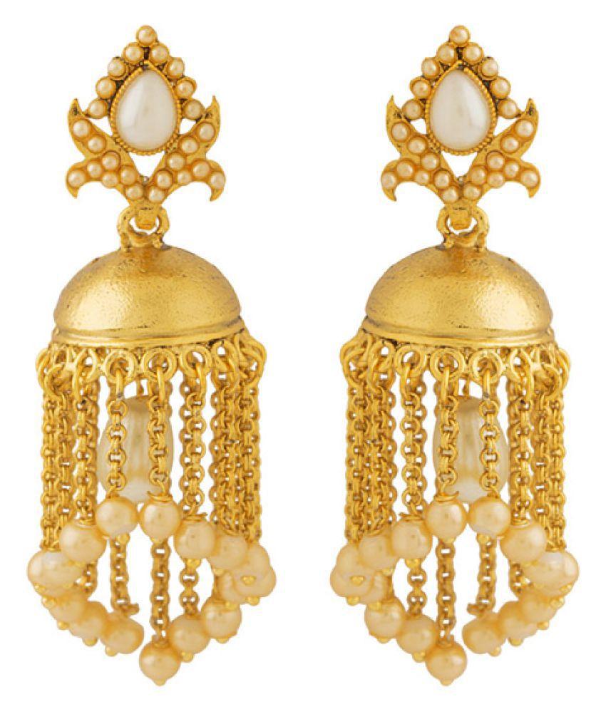 Voylla Gold Plated Jhumki Earrings for Women