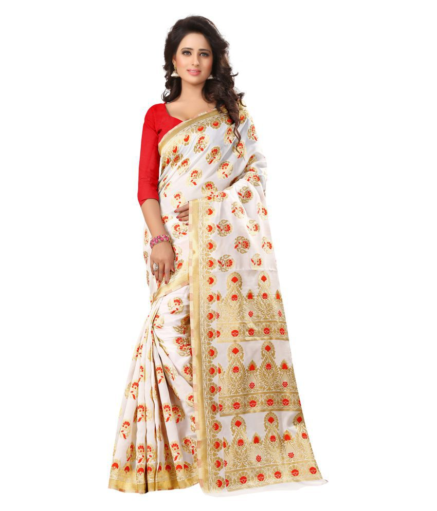 Bluebird Impex White Cotton Saree