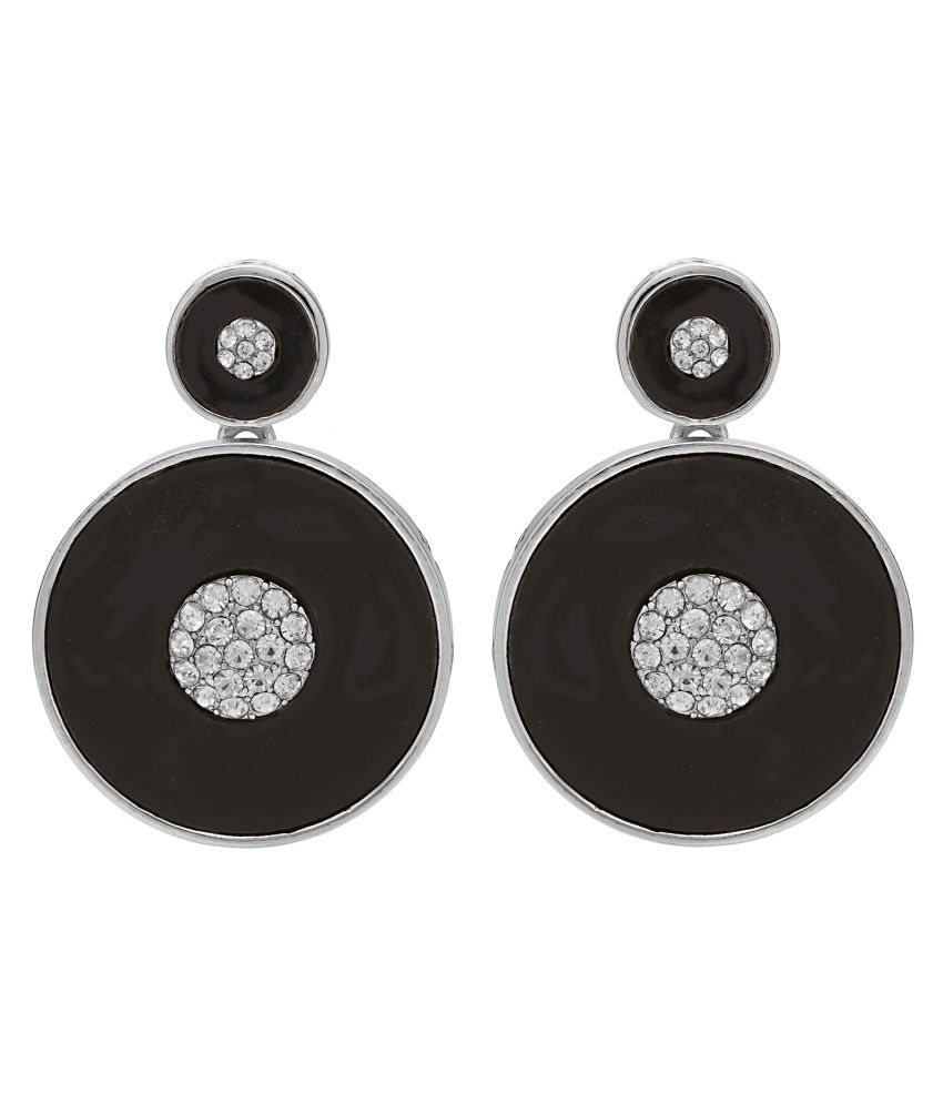 Rka Contemporary Black Colored Alloy Hanging Earring for Women