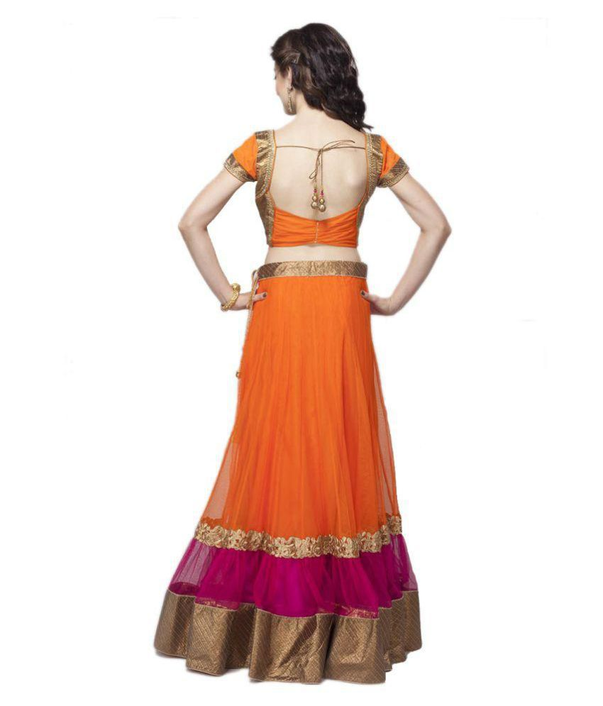 ... Miss Stylist Orange Net A Line Semi Stitched Lehenga