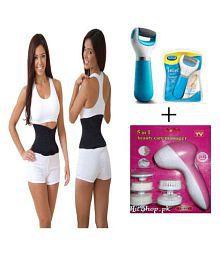 Ibs Sauna Slim Waist Tummy Abdomen Belt FACIAL KIT Massager SWEAT BELT,FOOT Pedi Spin CARE Pack Of 3 Regular Pack Of 3 - 622729996363