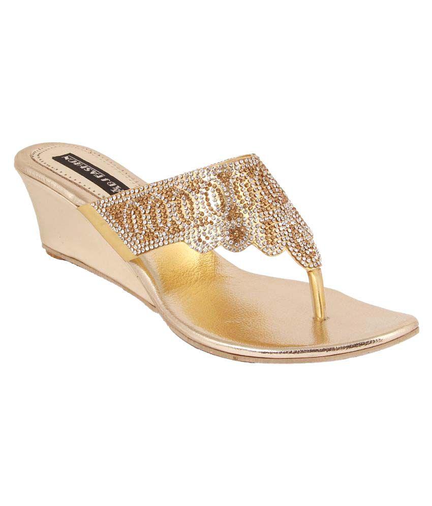ABJ Fashion Gold Wedges Heels