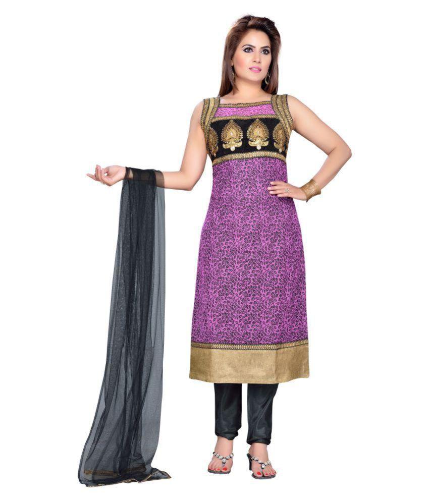 Krusha Art Purple Cotton Straight Stitched Suit