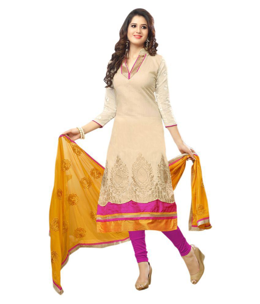 Kalish Beige Cotton Dress Material