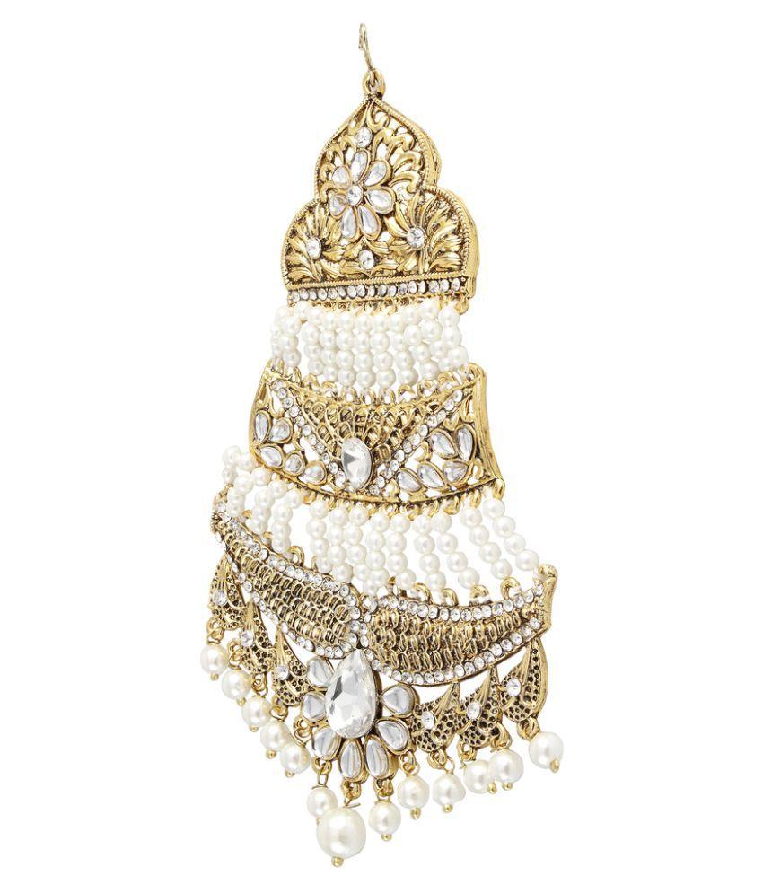 Hair accessories for wedding online india -  9blings Muslim Bridal Filigree Pearl Kundan Long Jhumar Passa Hair Accessories