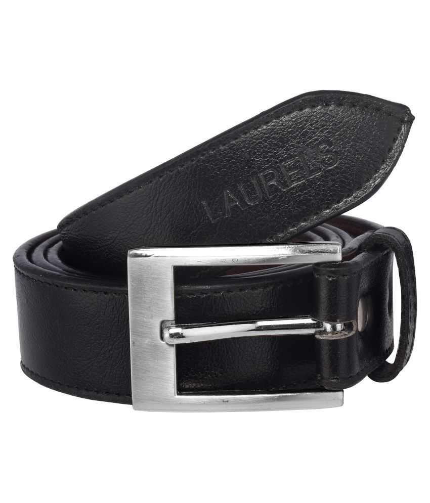 Laurels Black Faux Leather Formal Belt