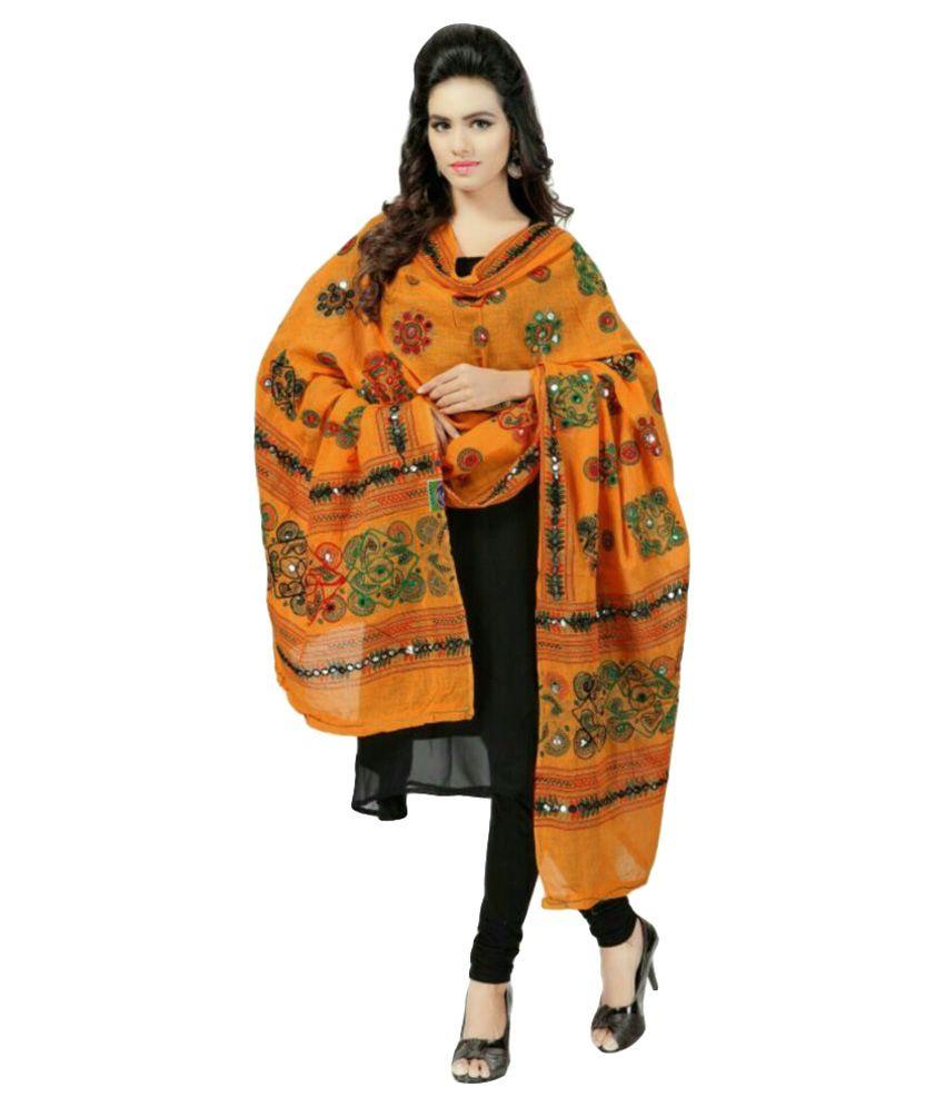 Shop Frenzy Orange Cotton Dupatta