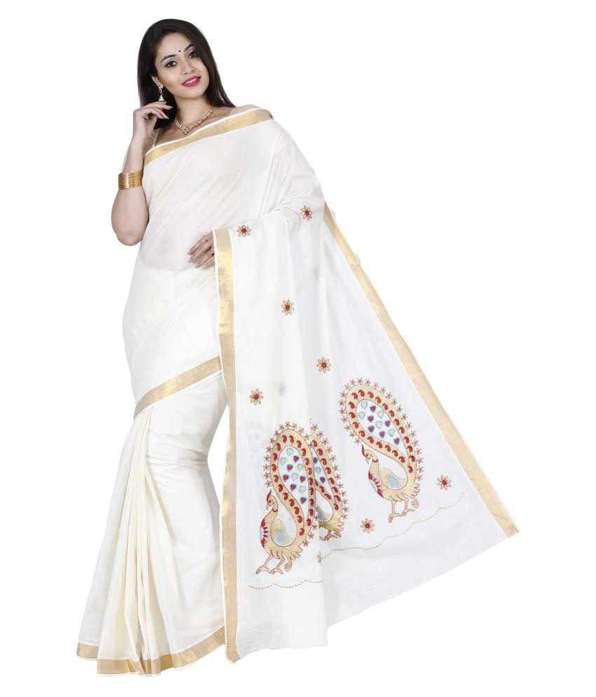 JISB White Cotton Saree