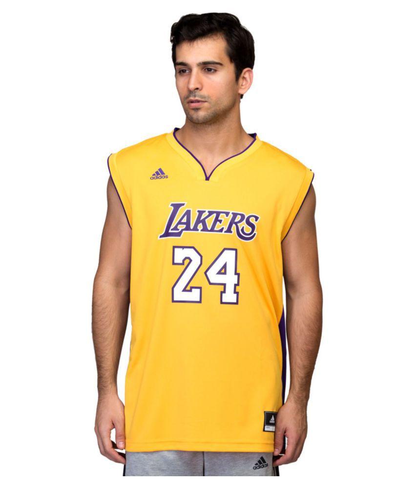 Adidas Yellow Polyster T Shirt