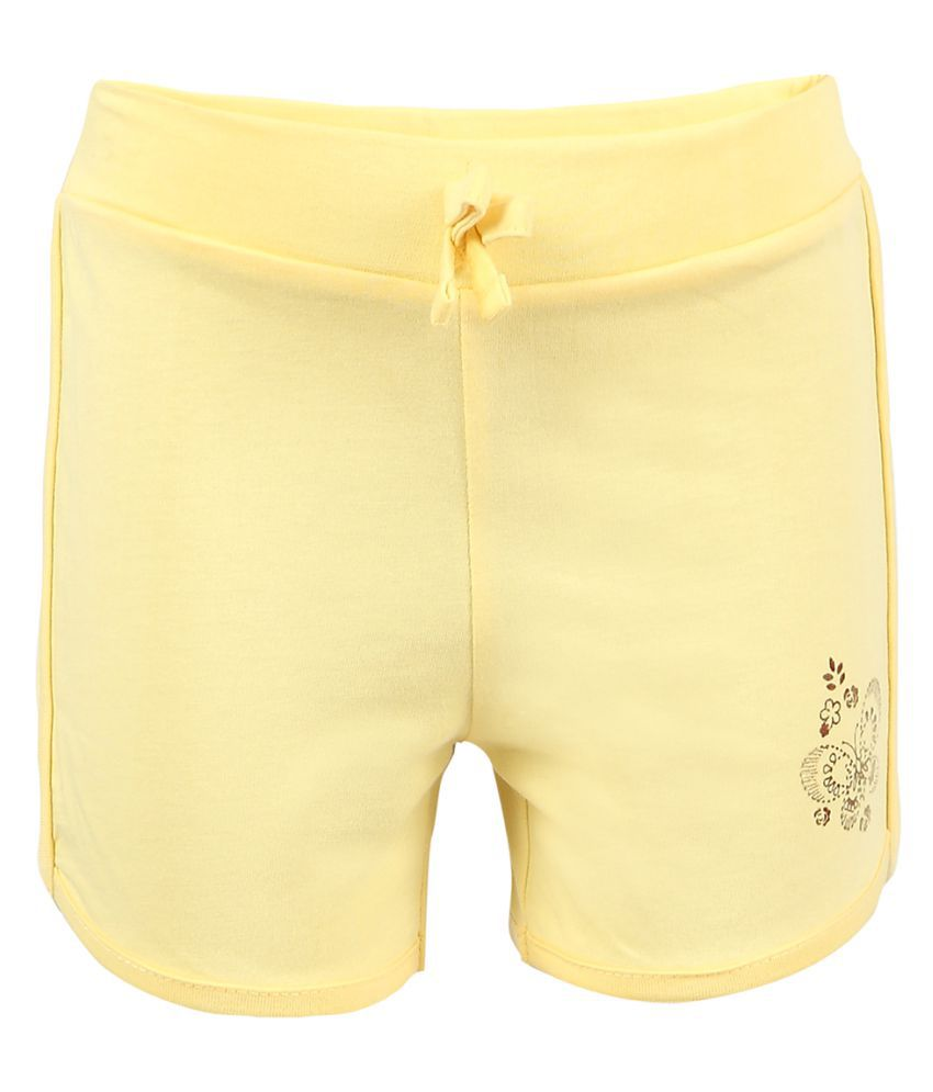 Pink & Blue Cotton Solid Girl's Shorts