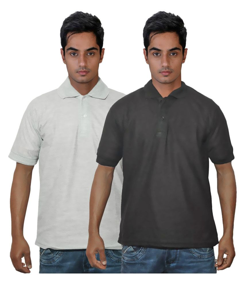 Dfnk Atlanta Grey Cotton Polo T-shirt Pack of 2