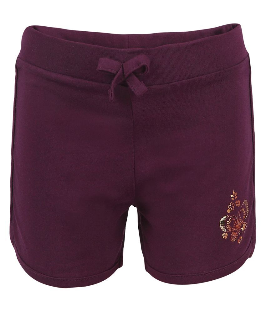 Pink & Blue Purple Cotton Hot Pant