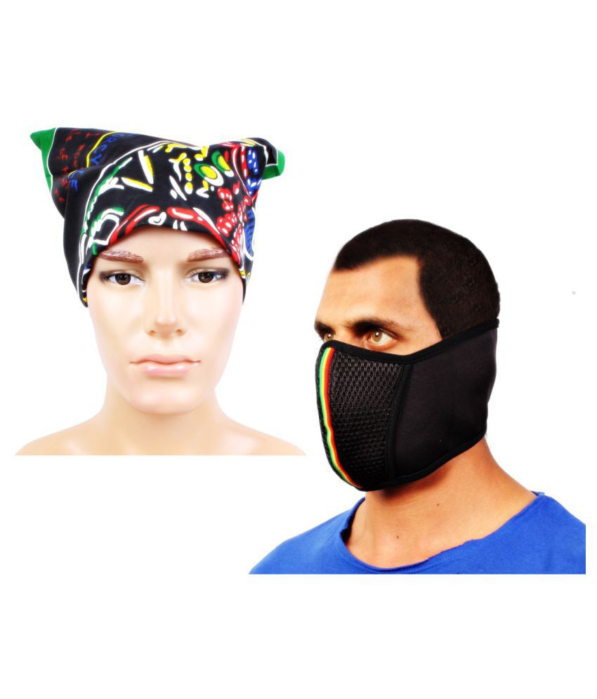 Sushito Multi Plain Polyester Headwraps with Face Mask
