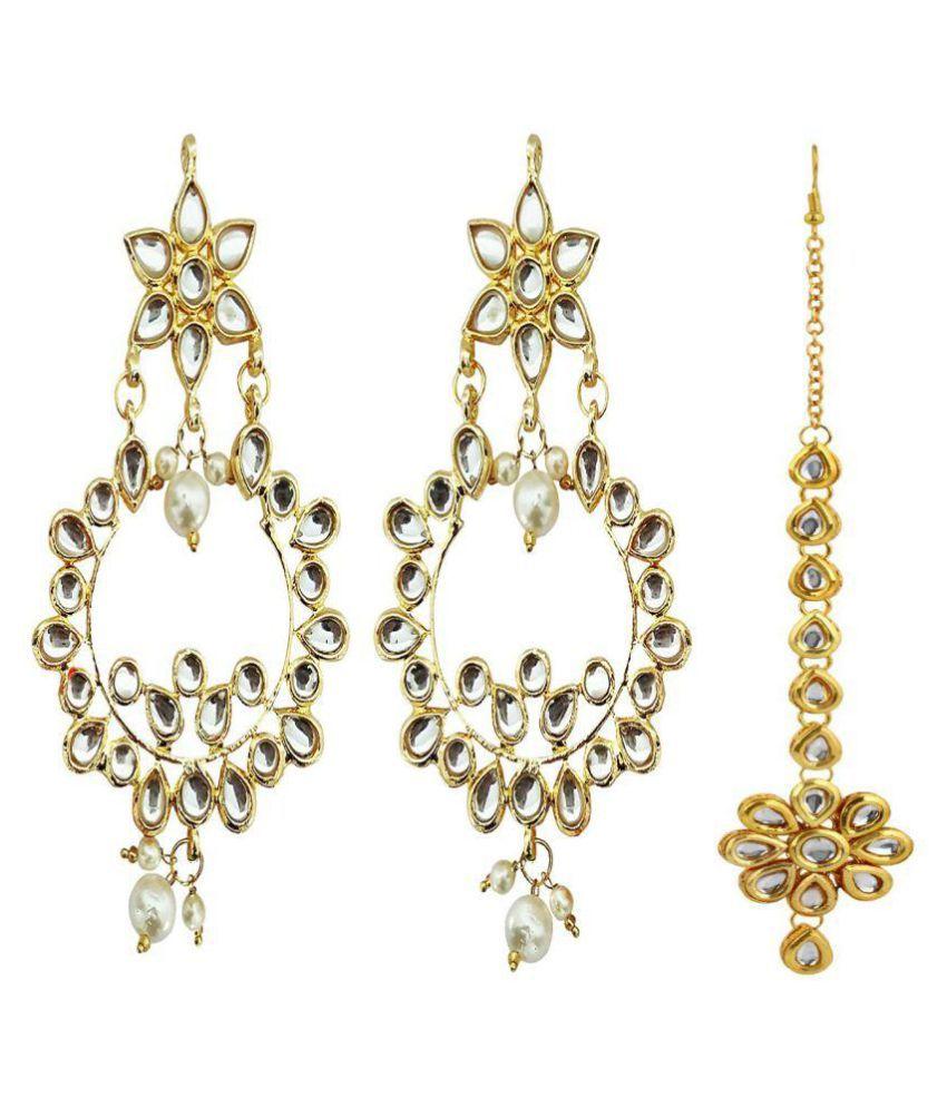 Rubena Stunning Chandbali Earrings with Maang Tikka
