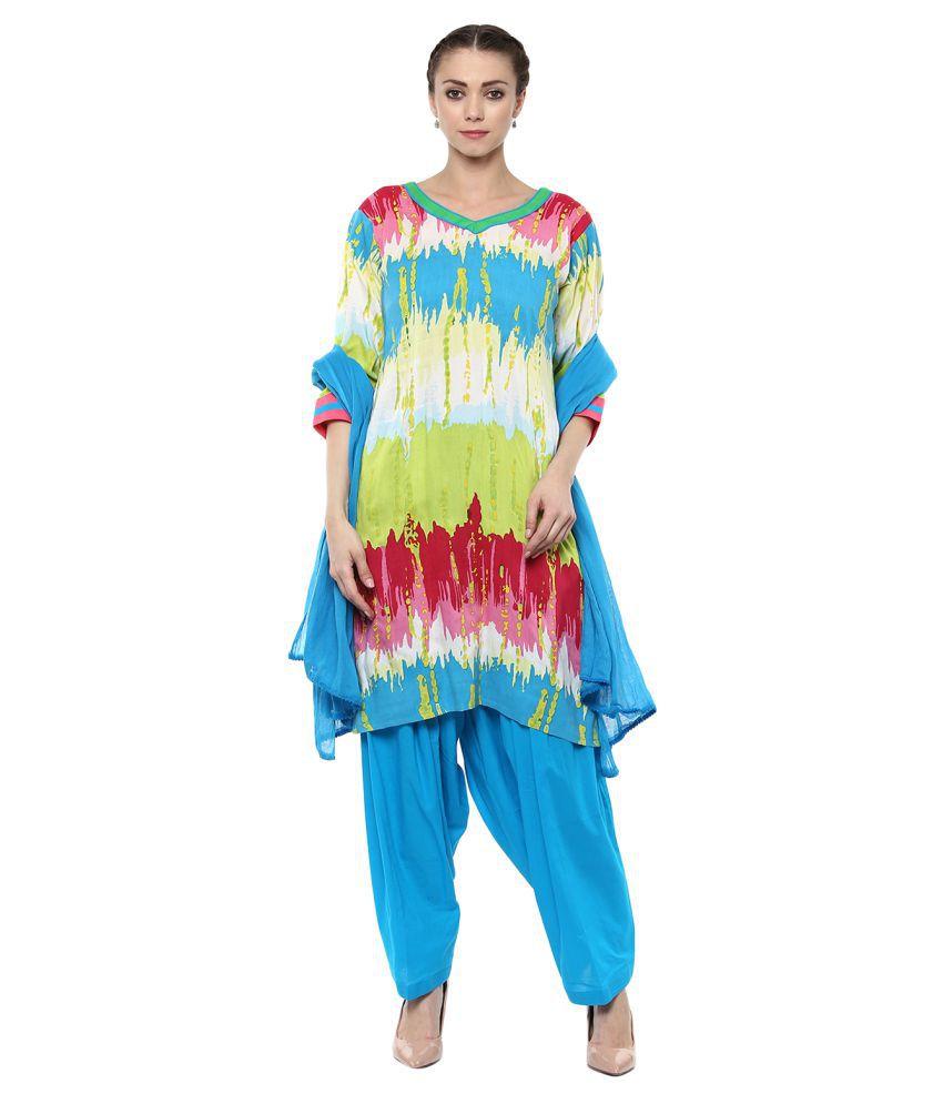 Aasha Ethnic Wear Multicoloured Cotton Straight Stitched Suit