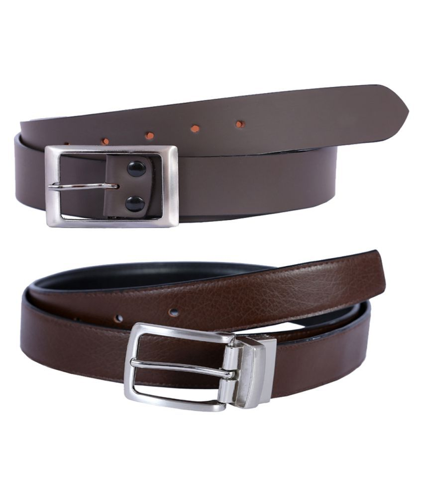 Hardys Collection Brown Leather Casual Belts Pack of 2