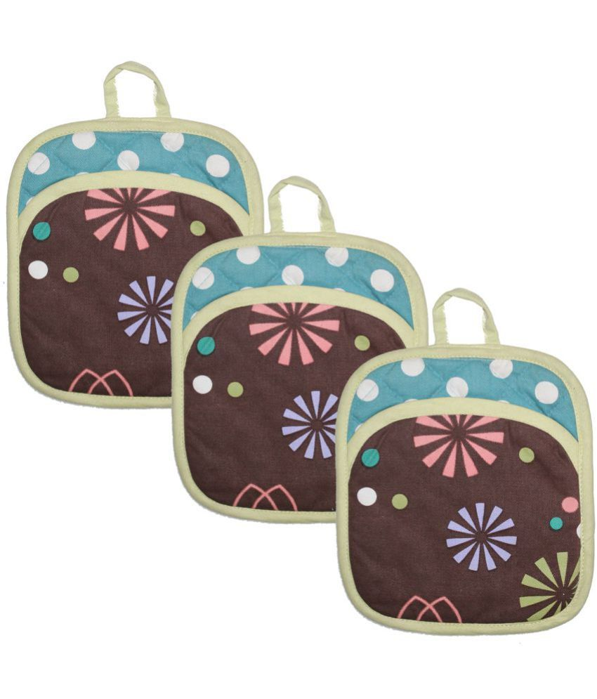 Airwill Cotton Designer Printed Pot Holders (Pack of 3)