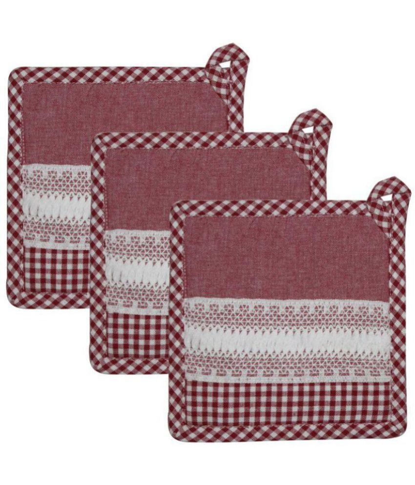 Airwill Multicolour Cotton with Lace Attached Designer Pot Holders Pack of 3