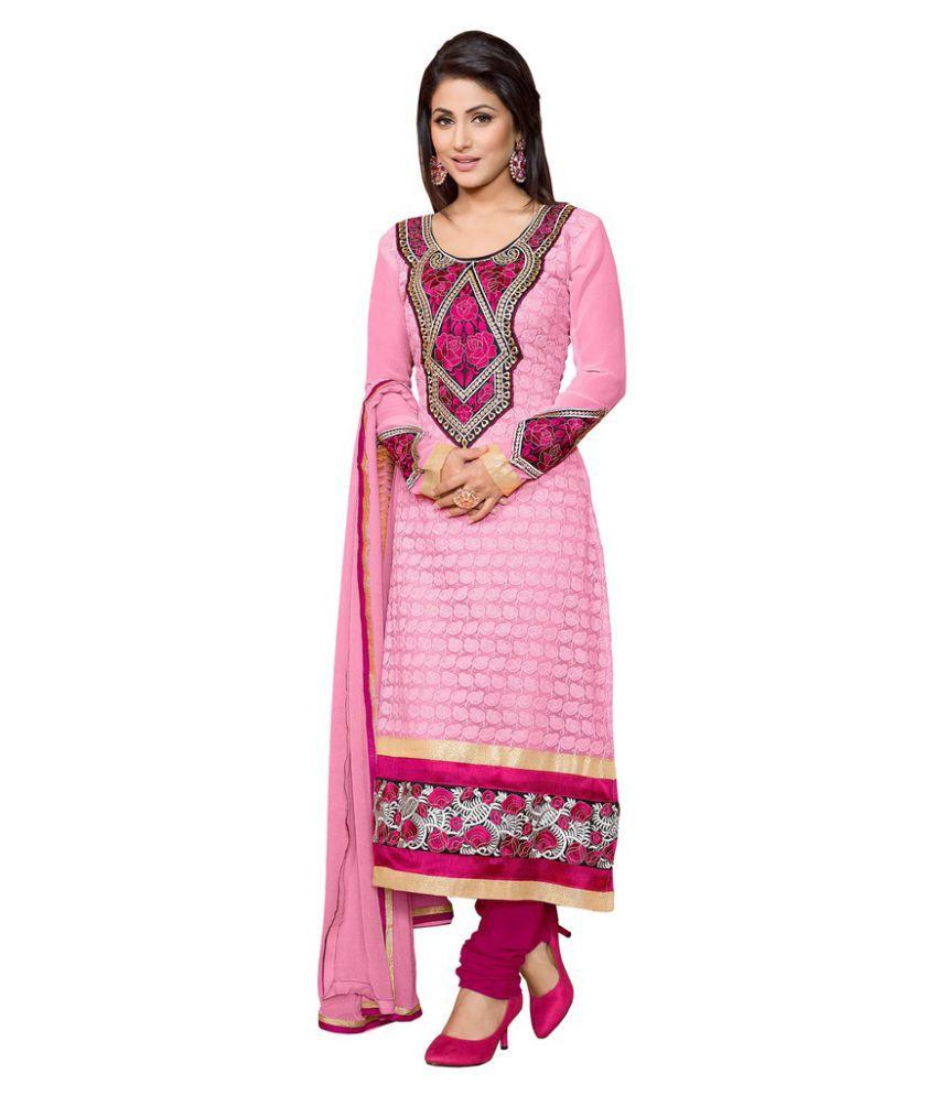 Snapshopee Pink Georgette Dress Material