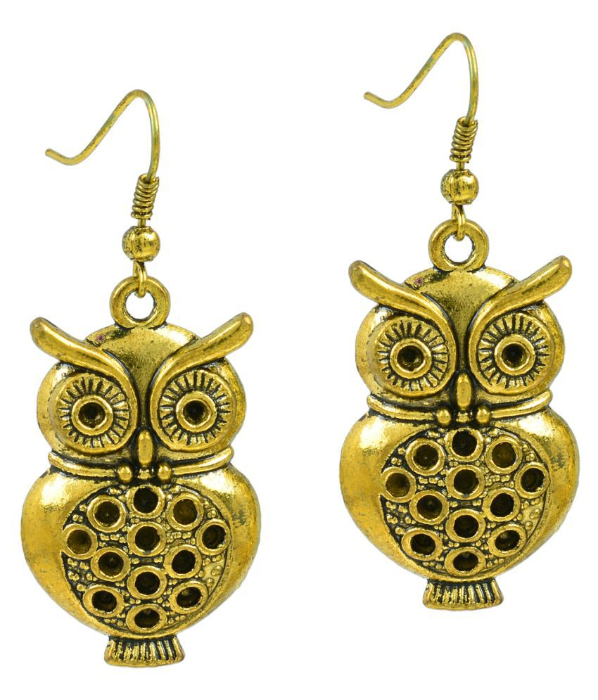 Memoir Gold Plated Brass Antique Look Owl Design Fashion Earrings for Women
