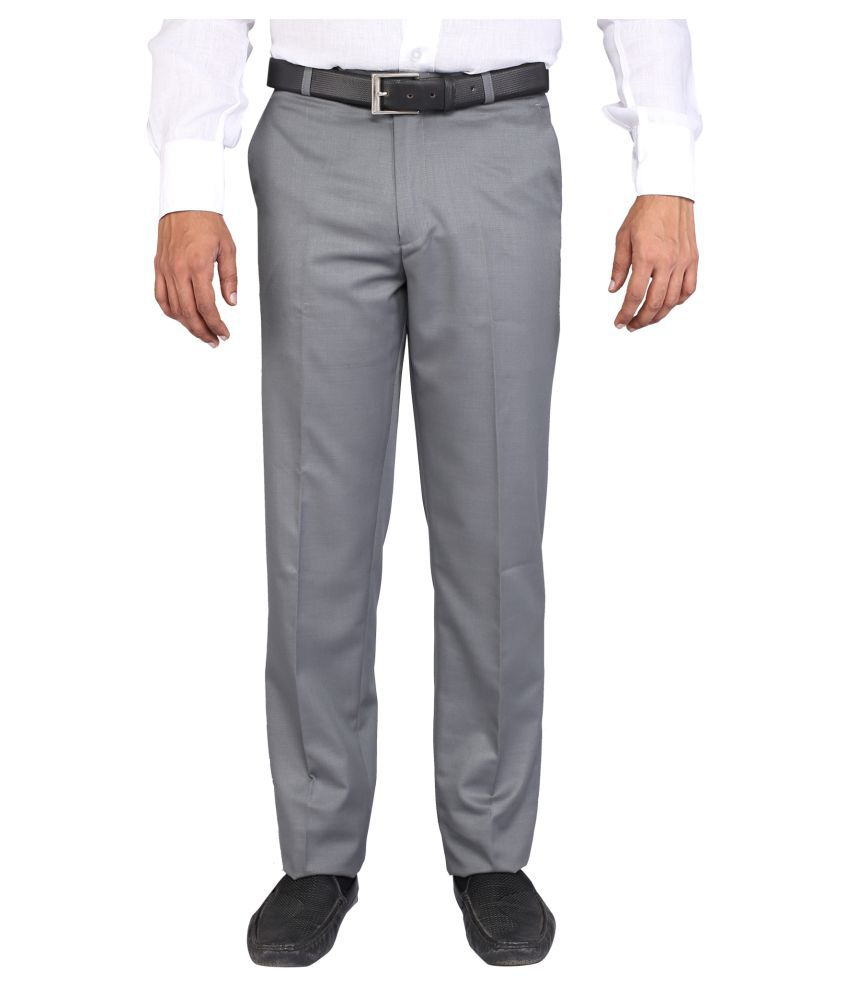 Pine Tree Grey Slim Flat Trousers