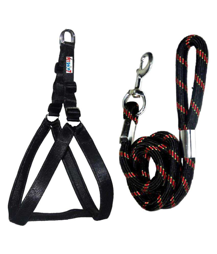Petshop7 Black Padding 1.25 Harness & Rope 18mm Harness