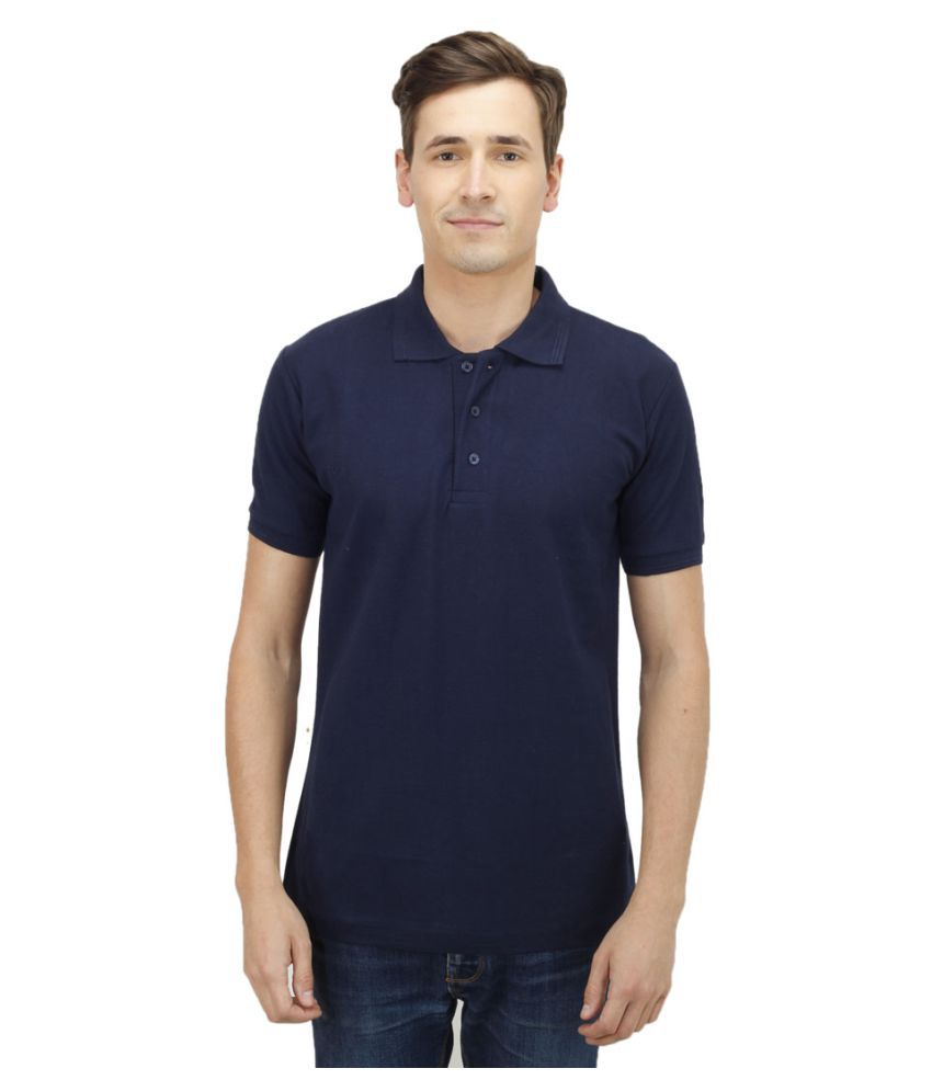 Haltung Navy Cotton Polo T-shirt