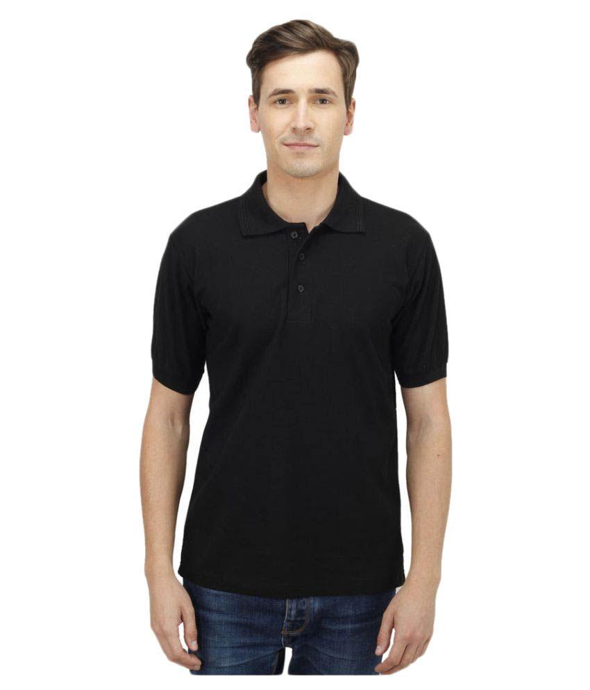 Haltung Black Cotton Polo T-shirt