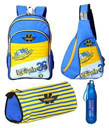 Karban Multicolour School Bag with Tuition Bag, Bottle And Pouch