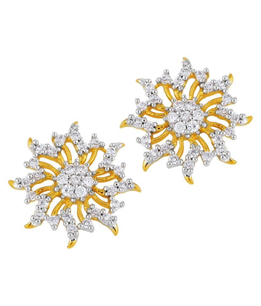 Emeralds Bazar Gold Plated CZ Round Shape Stud Earrings