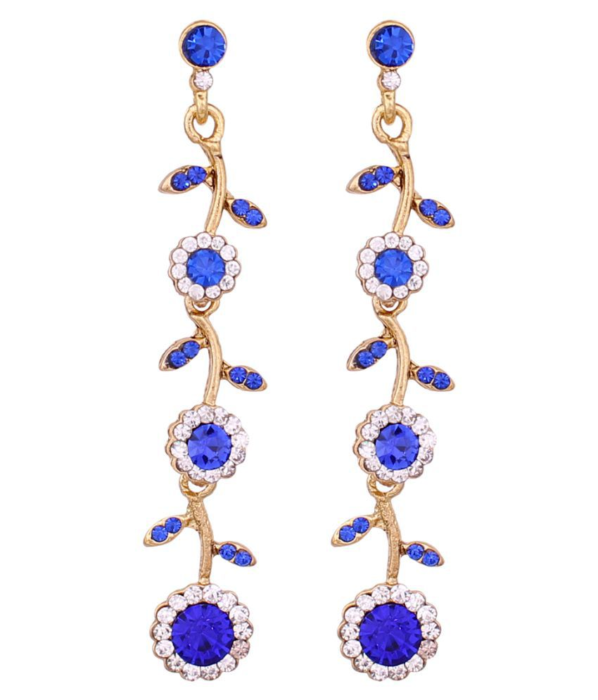 Vendee Floral Diamond Alloy Earrings for Women 8655D (Multicolour)