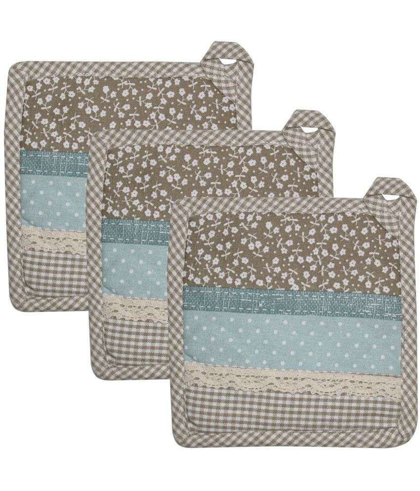 Airwill Cotton Printed with Lace Attached Designer Pot Holder - Pack of 3