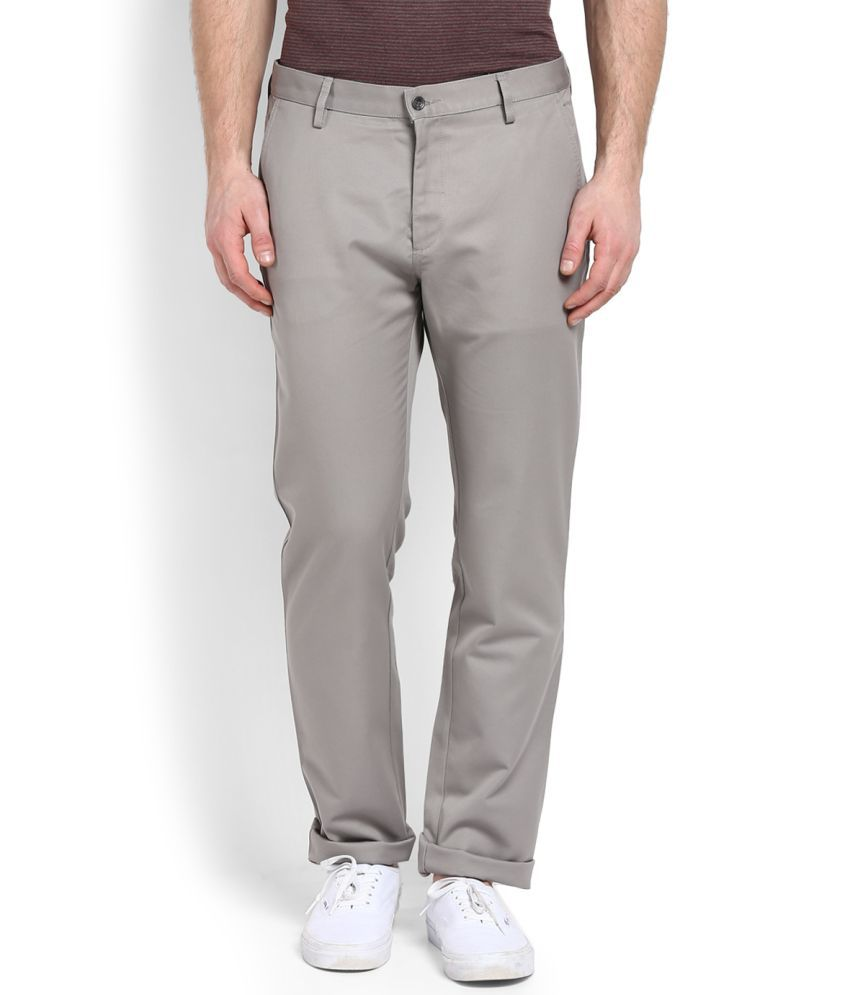 Allen Solly Grey Slim -Fit Flat Trousers